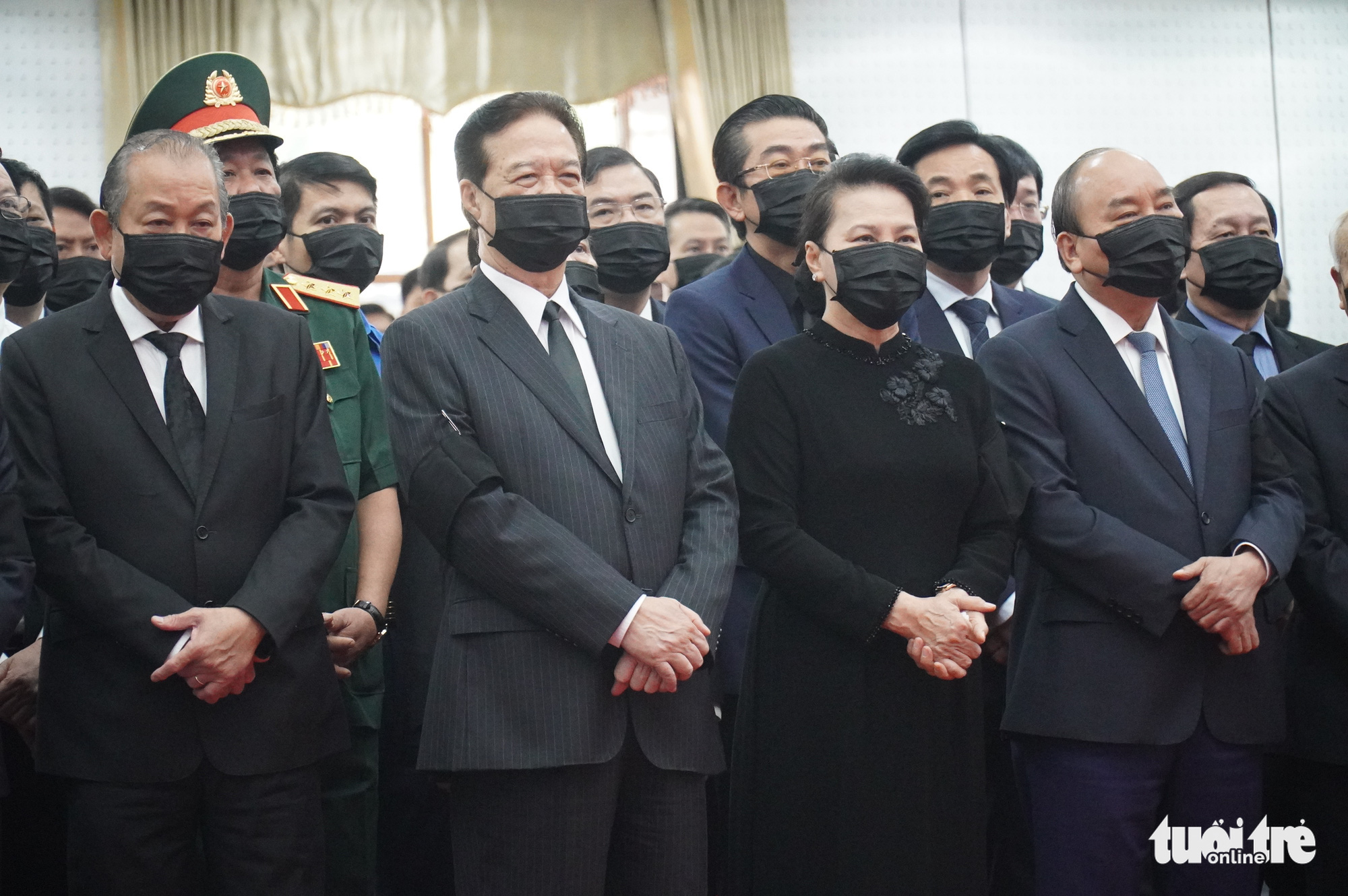 Vietnamese leaders and former leaders attend the funeral of former Deputy Prime Minister Truong Vinh Trong in Ben Tre Province, Vietnam, February 21, 2021. Photo: Tu Trung / Tuoi Tre