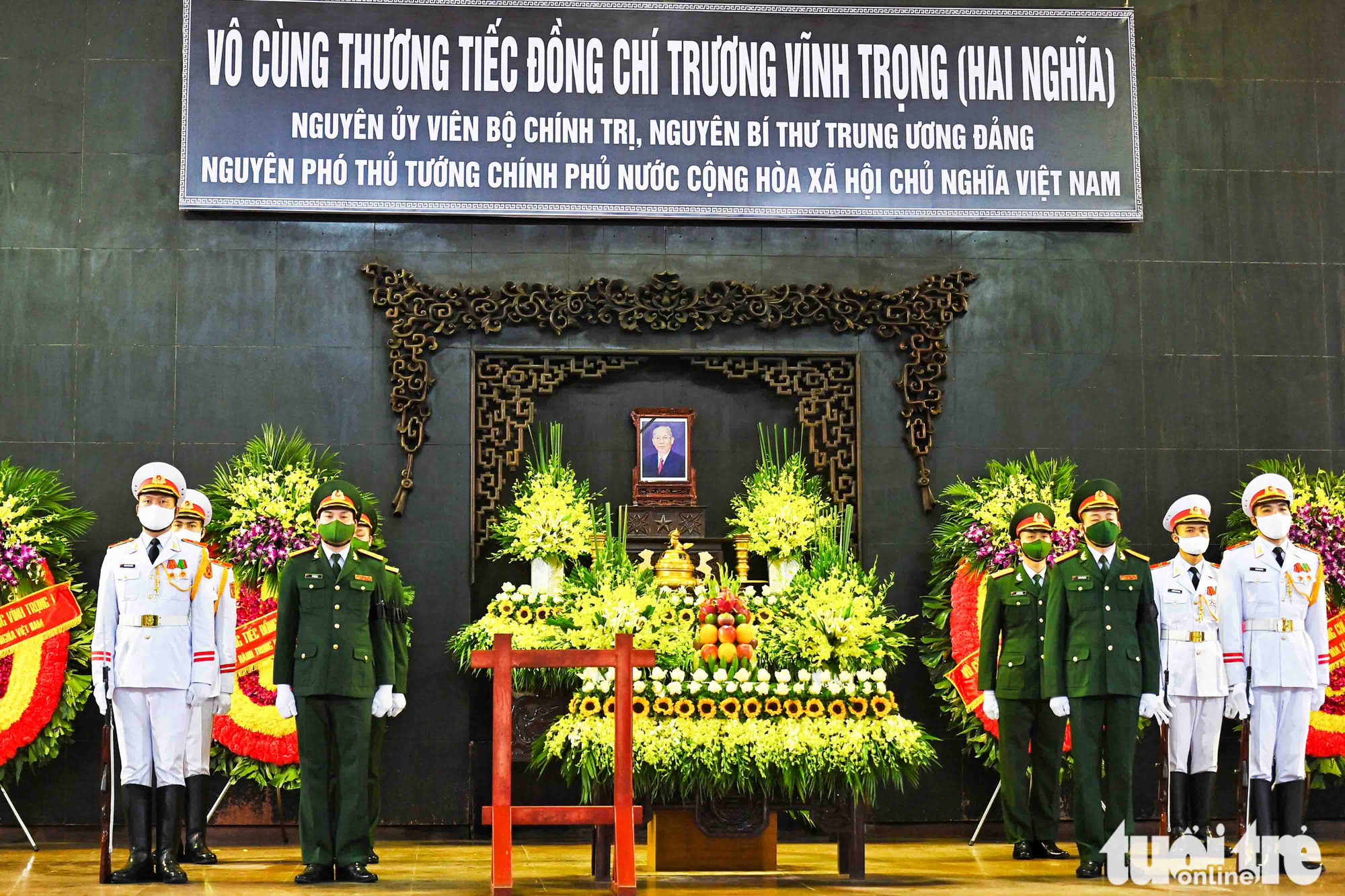 The funeral of former Vietnamese Deputy Prime Minister Truong Vinh Trong is organized in Hanoi, February 21, 2021. Photo: Hoang Phong / Tuoi Tre