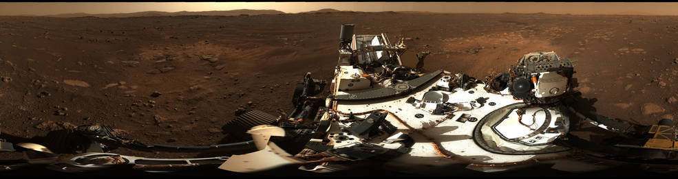 This is the first 360-degree panorama taken by Mastcam-Z, a zoomable pair of cameras aboard NASA's Perseverance Mars rover. The panorama was stitched together on Earth from 142 individual images taken on Sol 3, the third Martian day of the mission (Feb. 21, 2021). Photo: NASA/JPL-Caltech/MSSS/ASU