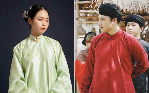 The traditional five-part ao dais are donned in a fashion photoshoot (left) and a Vietnamese webdrama (right)