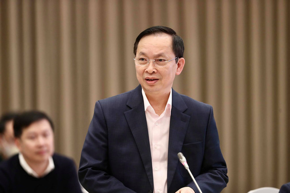 Do Thang Hai, deputy Minister of Trade and Commerce, speaks during a government regular press meeting on March 2, 2021. Photo: Nguyen Khanh / Tuoi Tre