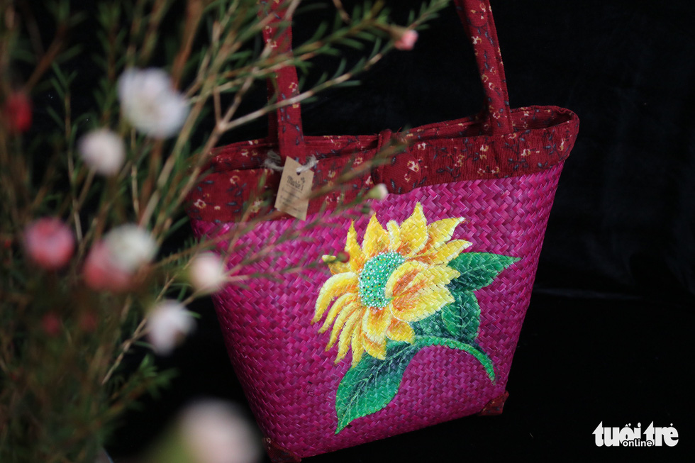 A fashion bag made from 'co bang' is pictured at a production facility owned by Ho Suong Lan in Thua Thien - Hue Province, Vietnam. Photo: Tuoi Tre