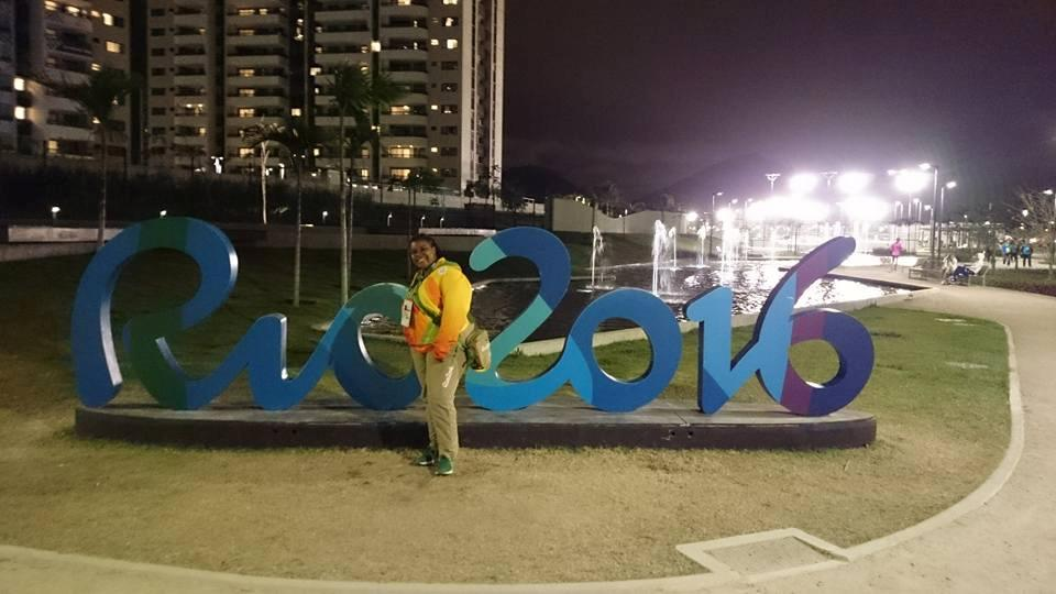 Claire Dawn-Marie Gittens poses with a Rio Olympics signage in Rio de Janeiro, Brazil in 2016. Picture taken in 2016. Photo: Reuters