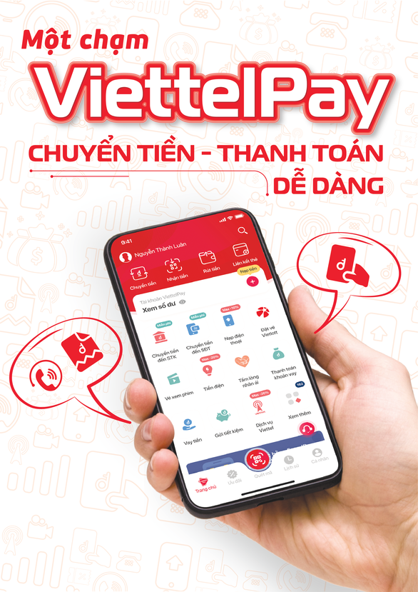A banner introducing Mobile-Money service by Viettel Group. Photo: V.L/Tuoi Tre