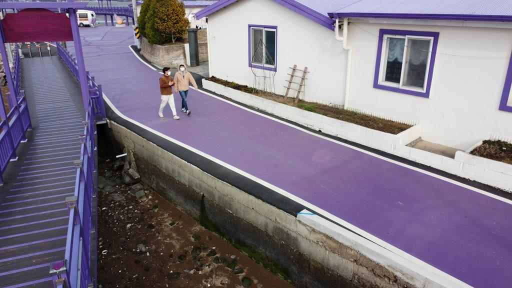 Tourists walk on a purple street at the Purple Island in Shinan, South Korea, March 9, 2021. Picture taken March 9, 2021. Photo: Reuters